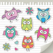 Set of cartoon owls — Stockvektor