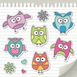 Stock Vector: Set of cartoon owls