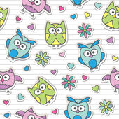 Pattern with cartoon owls — Stock Vector