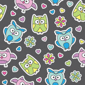Pattern of cartoon owls — Stock Vector