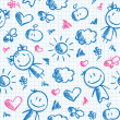 Hand drawn kid pattern — Vettoriali Stock