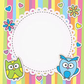 Frame with owls — Stock Vector