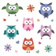 Set of owls — Stock Vector