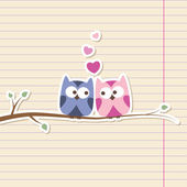 Owls in love — Vettoriale Stock