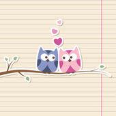 Owls in love — Stock Vector