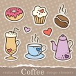 Coffee stickers — Stock Vector