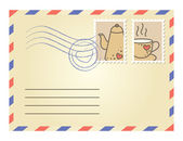 Envelope with postage stamps — Stock Vector