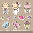 Wedding stickers — Imagen vectorial