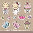 Vector de stock : Wedding stickers