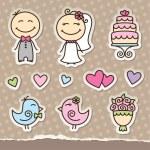 Wedding stickers — Stock Vector