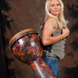 Muscular Drummer Girl - Foto Stock