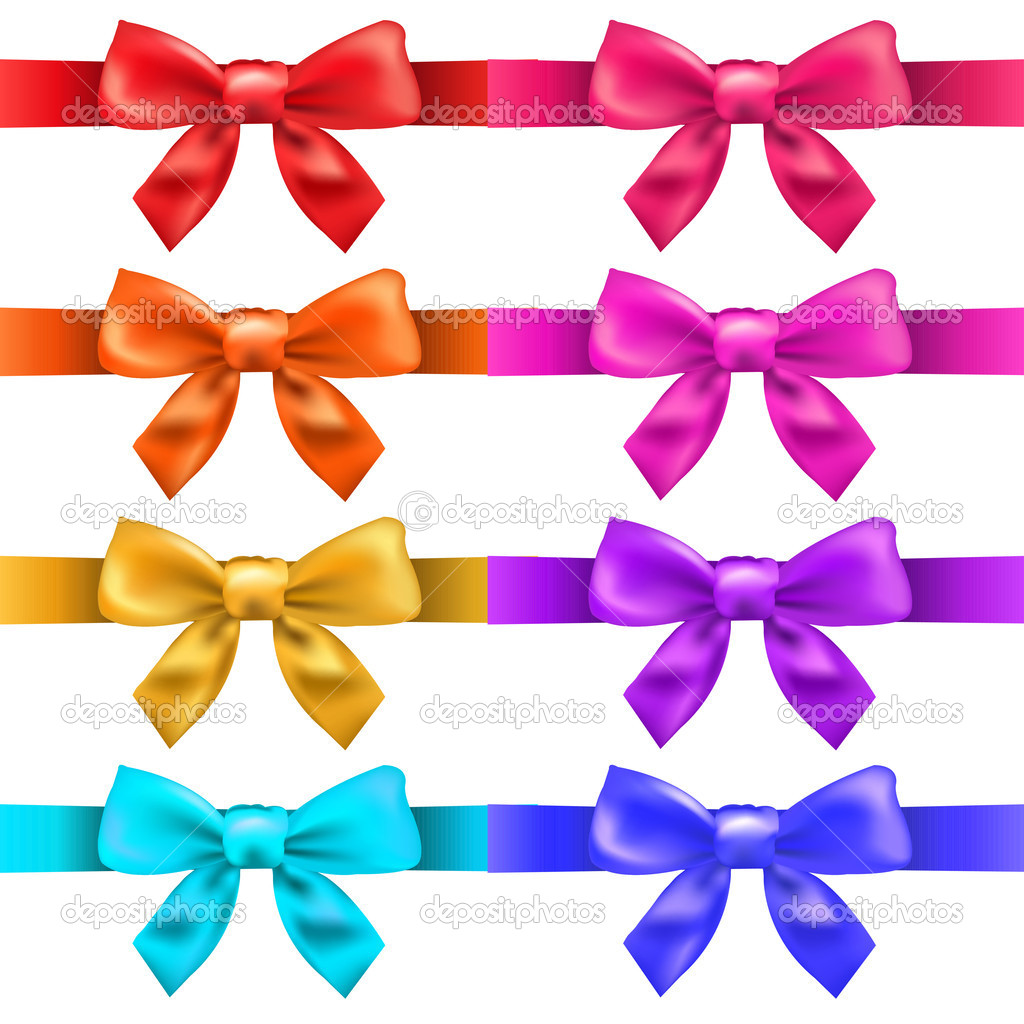 Big Ribbons With Bow, Isolated On White Background, Vector Illustration — Vektorgrafik #10752422