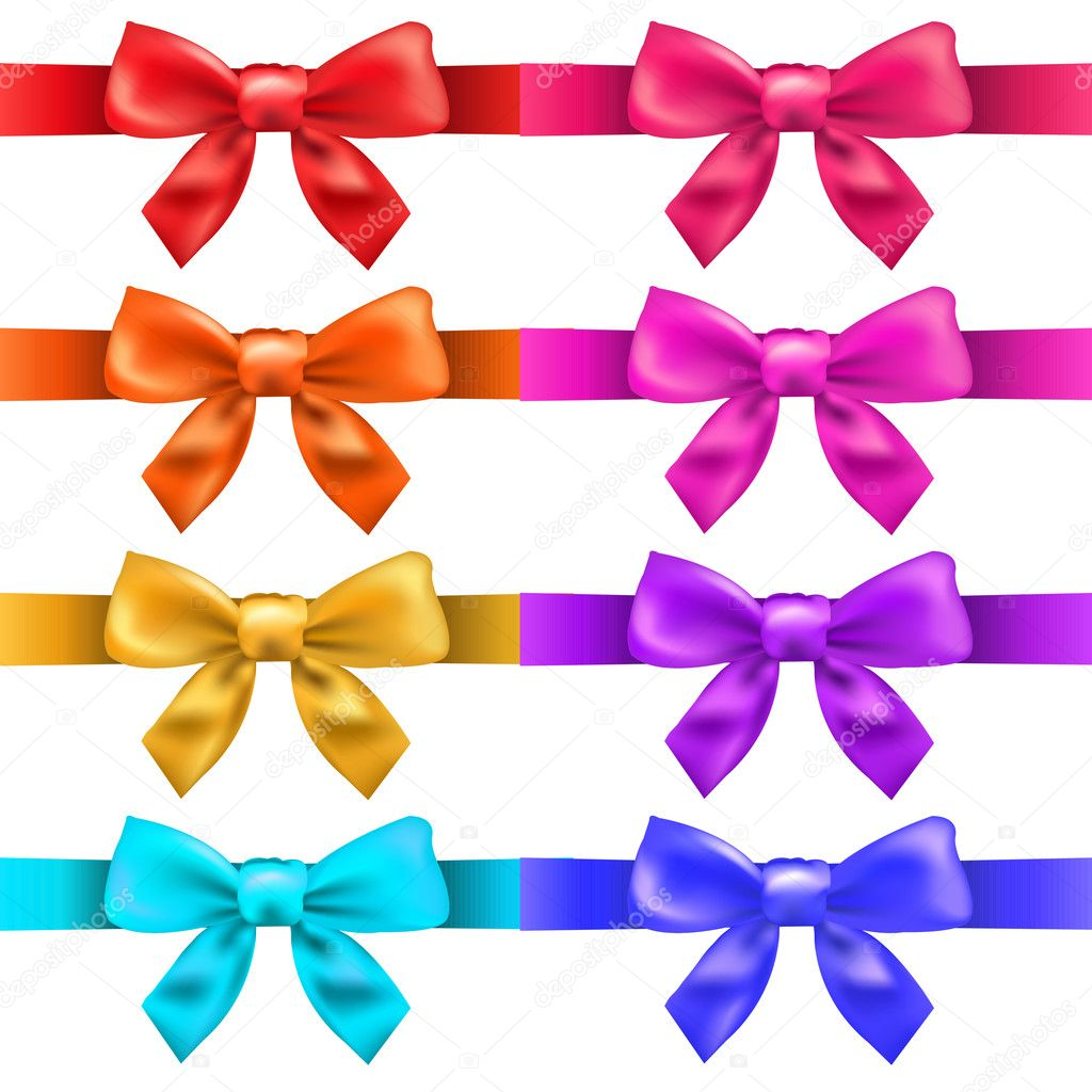 Big Ribbons With Bow, Isolated On White Background, Vector Illustration  Stok Vektr #10752422