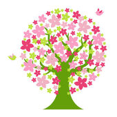 Tree With Color Flowers — Stock Vector