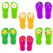 Flip Flops With Color Flowers — Stock Vector