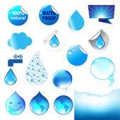 Set grande simbolo di acqua — Vettoriale Stock