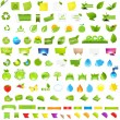 Big Nature And Eco Set With Labels — Stock Vector