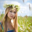 Girl on green field — Stock Photo #11093294