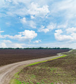 Rural road in black agricultural field under cloudy sky — Stock Photo