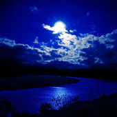 Moonlight over river — Stock Photo