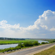 Stock Photo: Two way: road and river