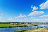 Long bridge over river Ingul, Ukraine — Stock Photo