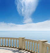 View to the Black Sea from a balcony under cloudy sky — Stock Photo