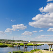 Bridge over river and blue sky — Stock Photo