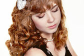 Girl with red curly health hair style, studio salon — Stock Photo