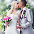 Kissing wedding couple — Stockfoto