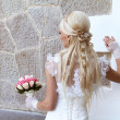 Bride with blond fashion hair style — Stock Photo