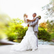 Wedding dance the bride and groom — Stock Photo