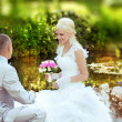Happy bride and groom at the wedding walk — Stock Photo #11313708