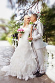 Elegant bride and groom posing together outdoors on a wedding da — Stock Photo