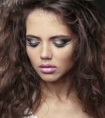 Portrait of beautiful woman model with makeup — Stock Photo
