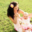 Happy mother with daughter relaxing sitting on grass — Stock Photo #11824695
