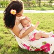 Beautiful young mother with daughter relaxing — Stock Photo
