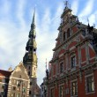 Stock Photo: Saint peter church and house of blackheads in riga