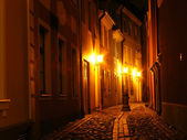 Street with lights at night — Stock Photo