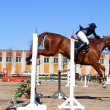 Woman show jumping on brown horse — Stock Photo