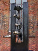 Bronze statue of Town musicians of Bremen — Stock Photo