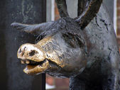Close up of donkey from the sculpture of Town musicians of Breme — Stock Photo