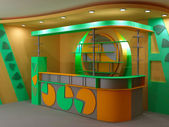 Bar in light green and orange colors — Stock Photo
