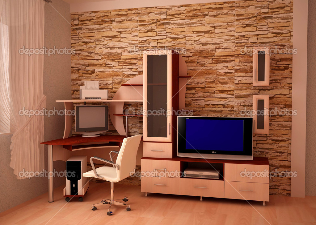 Furniture, computer desk, against the walls of stone — Stock Photo #11629131