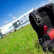 Skydiving parachutes ready to international competition. - Stock Photo