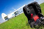Skydiving parachutes ready to international competition. — Stock Photo