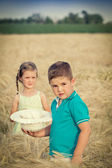 Little boy and girl in wheat field — Stock Photo