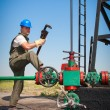 Royalty-Free Stock Photo: Oil worker check oil pump