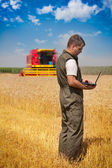 Farmer calculating earning in field — Stock Photo
