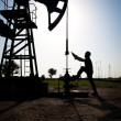 Stock Photo: Silhouette Pump Jack